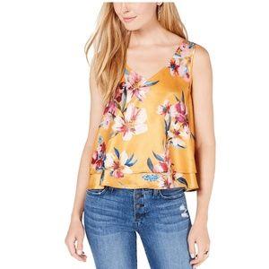 Bar III Tops - Bar III Large Yellow Floral Ruffle Hem Blouse 3Y23